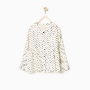 Zara girls off white blouse with dots.